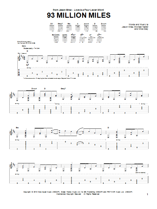 Tablature guitare 93 Million Miles de Jason Mraz - Tablature Guitare