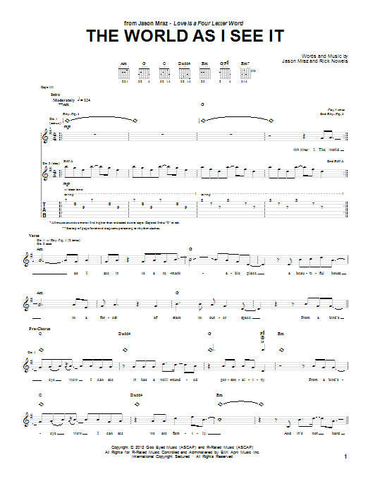 The World As I See It (Guitar Tab)