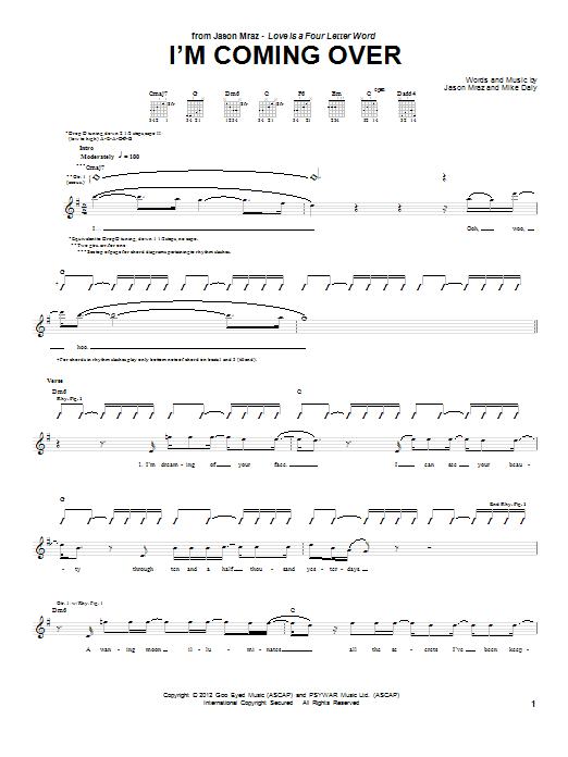 Tablature guitare I'm Coming Over de Jason Mraz - Tablature Guitare