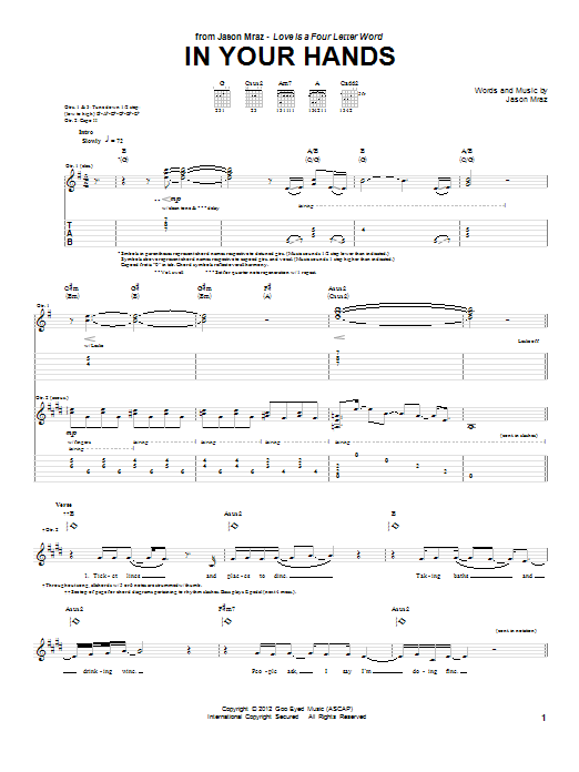 In Your Hands Sheet Music