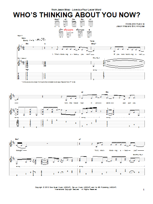 Tablature guitare Who's Thinking About You Now? de Jason Mraz - Tablature Guitare