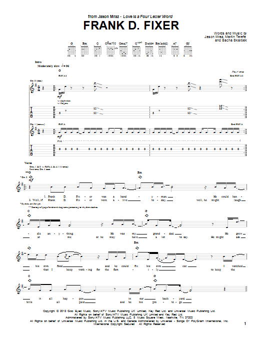 Tablature guitare Frank D Fixer de Jason Mraz - Tablature Guitare