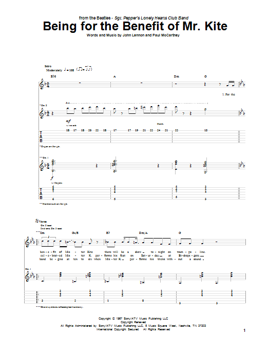 Tablature guitare Being For The Benefit Of Mr. Kite de The Beatles - Tablature Guitare