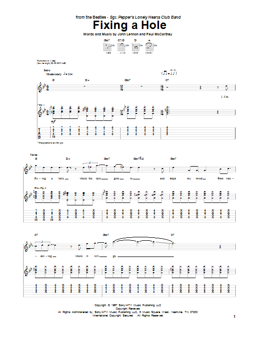 Tablature guitare Fixing A Hole de The Beatles - Tablature Guitare