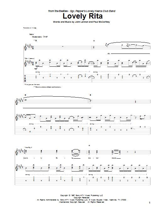 Tablature guitare Lovely Rita de The Beatles - Tablature Guitare