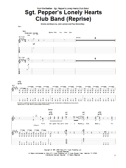 Sgt. Pepper's Lonely Hearts Club Band (Reprise) (Guitar Tab)