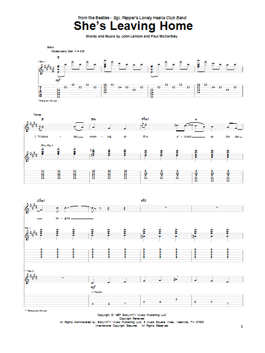 Tablature guitare She's Leaving Home de The Beatles - Tablature Guitare