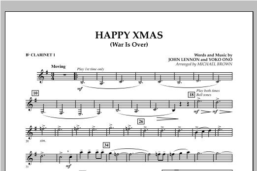 Happy Xmas (War Is Over) - Bb Clarinet 1 (Concert Band)