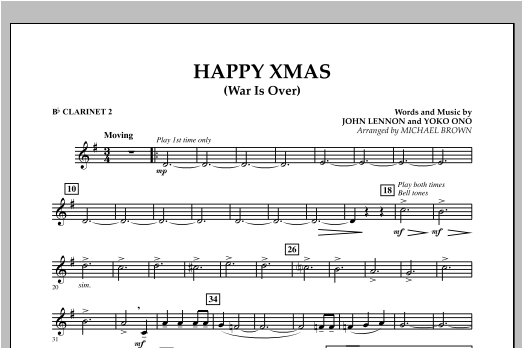 page one of Happy Xmas (War Is Over) - Bb Clarinet 2ASALTTEXT