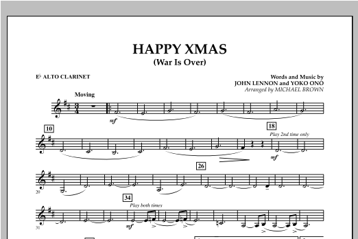 page one of Happy Xmas (War Is Over) - Eb Alto ClarinetASALTTEXT