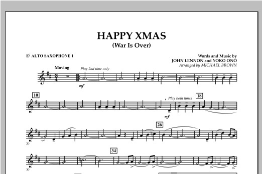 page one of Happy Xmas (War Is Over) - Eb Alto Saxophone 1ASALTTEXT