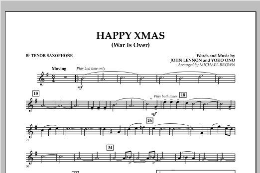 page one of Happy Xmas (War Is Over) - Bb Tenor SaxophoneASALTTEXT