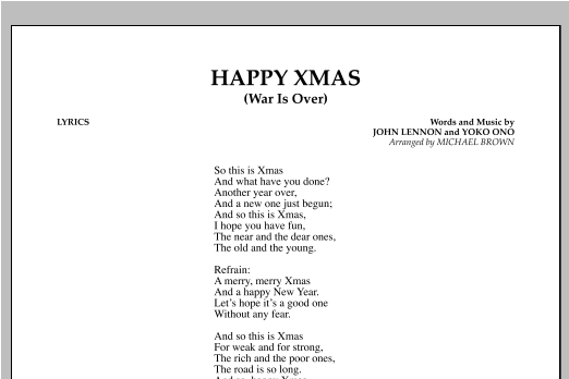 happy xmas war is over lyrics by michael brown john lennon