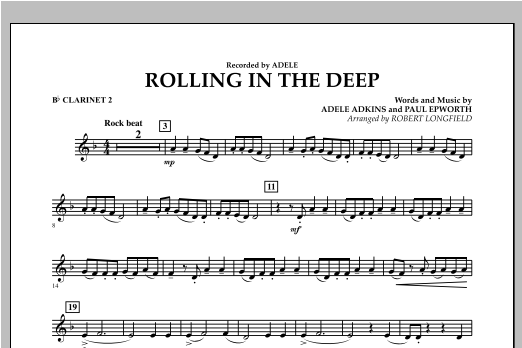 Rolling in the Deep - Bb Clarinet 2 (Concert Band)