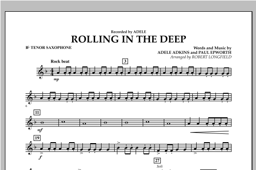 Rolling in the Deep - Bb Tenor Saxophone (Concert Band)