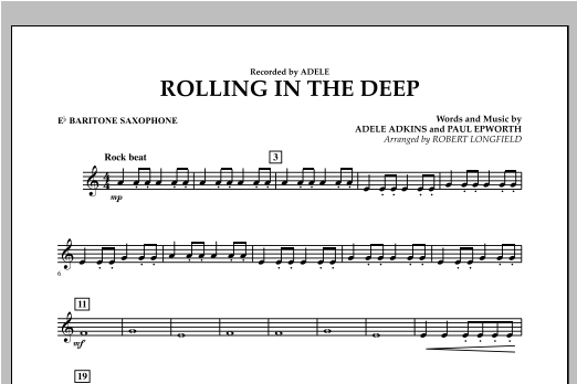 Rolling in the Deep - Eb Baritone Saxophone (Concert Band)