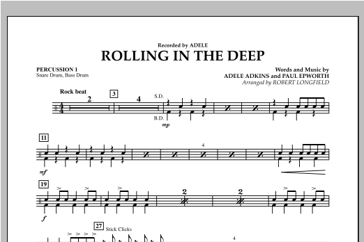 Rolling in the Deep - Percussion 1 (Concert Band)