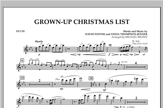 Grown Up Christmas List (with Optional Vocal Solo) - Flute (Concert Band)