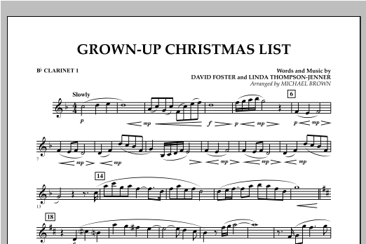 Grown Up Christmas List (with Optional Vocal Solo) - Bb Clarinet 1 (Concert Band)