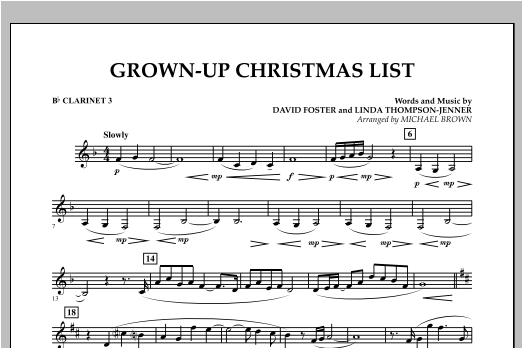 Grown Up Christmas List (with Optional Vocal Solo) - Bb Clarinet 3 (Concert Band)