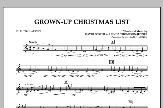 Grown Up Christmas List (with Optional Vocal Solo) - Eb Alto Clarinet (Concert Band)