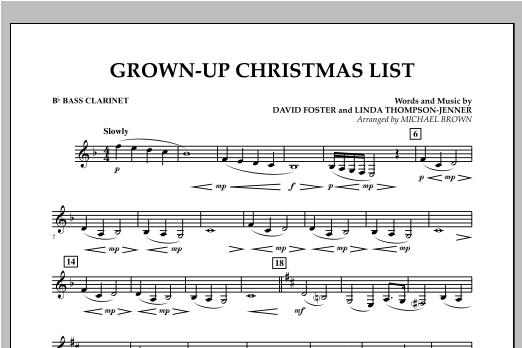 Grown Up Christmas List (with Optional Vocal Solo) - Bb Bass Clarinet (Concert Band)