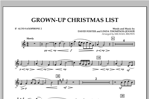 Grown Up Christmas List (with Optional Vocal Solo) - Eb Alto Saxophone 2 (Concert Band)
