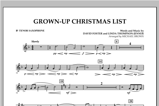 Grown Up Christmas List (with Optional Vocal Solo) - Bb Tenor Saxophone (Concert Band)
