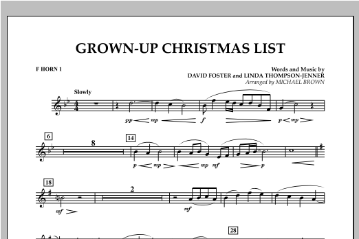 Grown Up Christmas List (with Optional Vocal Solo) - F Horn 1 (Concert Band)