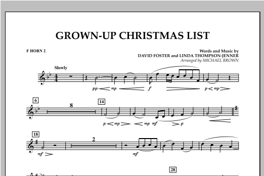 Grown Up Christmas List (with Optional Vocal Solo) - F Horn 2 (Concert Band)