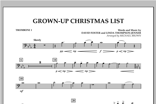 Grown Up Christmas List (with Optional Vocal Solo) - Trombone 1 (Concert Band)