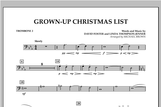Grown Up Christmas List (with Optional Vocal Solo) - Trombone 2 (Concert Band)