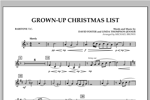 Grown Up Christmas List (with Optional Vocal Solo) - Baritone T.C. (Concert Band)
