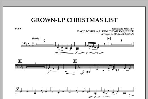 Grown Up Christmas List (with Optional Vocal Solo) - Tuba (Concert Band)