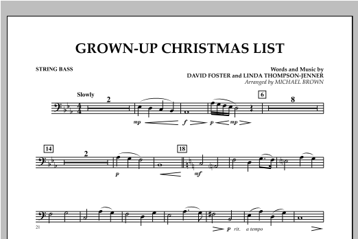 Grown Up Christmas List (with Optional Vocal Solo) - String Bass (Concert Band)