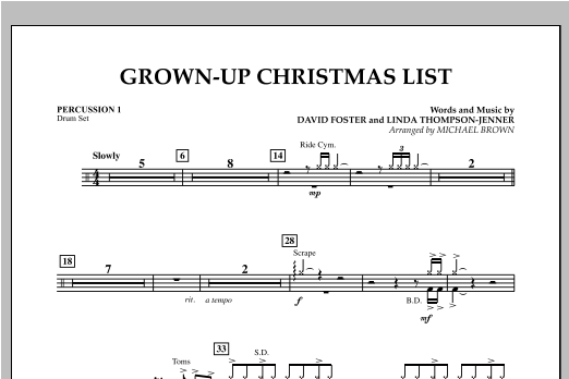 Grown Up Christmas List (with Optional Vocal Solo) - Percussion 1 (Concert Band)