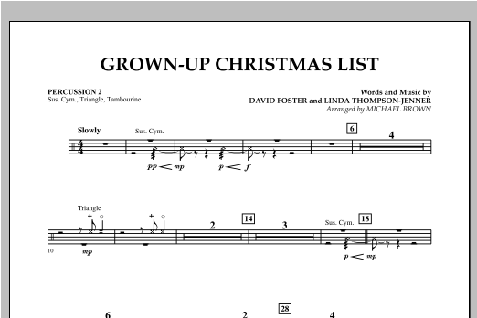 Grown Up Christmas List (with Optional Vocal Solo) - Percussion 2 (Concert Band)