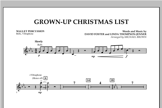 Grown Up Christmas List (with Optional Vocal Solo) - Mallet Percussion (Concert Band)