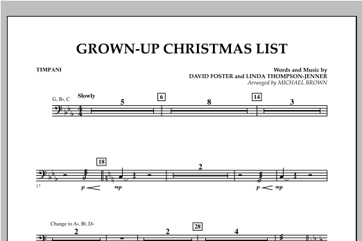 Grown Up Christmas List (with Optional Vocal Solo) - Timpani (Concert Band)