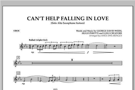 Can't Help Falling In Love (Solo Alto Saxophone Feature) - Oboe (Concert Band)
