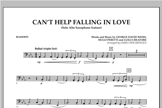 Can't Help Falling In Love (Solo Alto Saxophone Feature) - Bassoon (Concert Band)