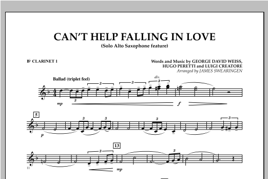 Can't Help Falling In Love (Solo Alto Saxophone Feature) - Bb Clarinet 1 (Concert Band)