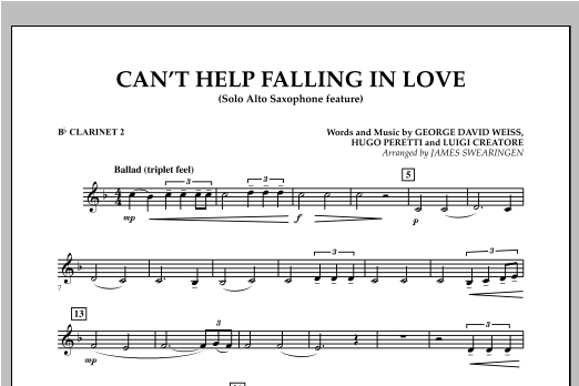 Can't Help Falling In Love (Solo Alto Saxophone Feature) - Bb Clarinet 2 (Concert Band)