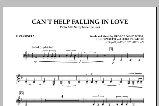 Can't Help Falling In Love (Solo Alto Saxophone Feature) - Bb Clarinet 3 (Concert Band)