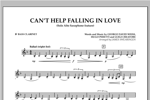 Can't Help Falling In Love (Solo Alto Saxophone Feature) - Bb Bass Clarinet (Concert Band)