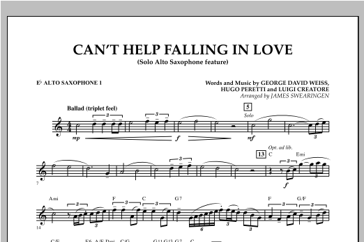 Can't Help Falling In Love (Solo Alto Saxophone Feature) - Eb Alto Saxophone 1 (Concert Band)
