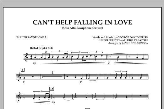 Can't Help Falling In Love (Solo Alto Saxophone Feature) - Eb Alto Saxophone 2 (Concert Band)