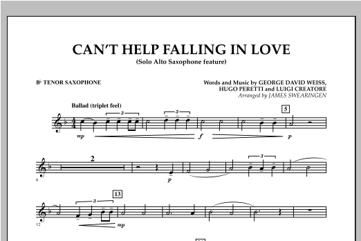 Can't Help Falling In Love (Solo Alto Saxophone Feature) - Bb Tenor Saxophone (Concert Band)