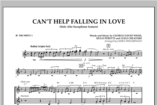 Can't Help Falling In Love (Solo Alto Saxophone Feature) - Bb Trumpet 1 (Concert Band)