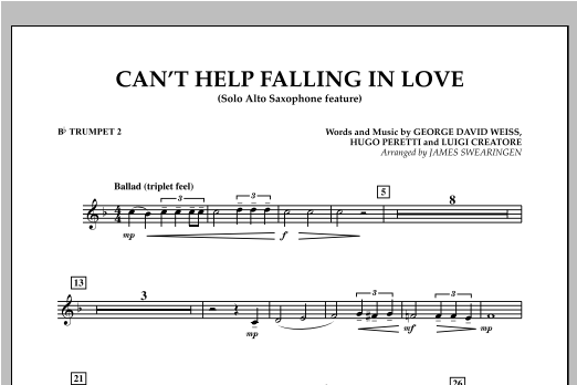 Can't Help Falling In Love (Solo Alto Saxophone Feature) - Bb Trumpet 2 (Concert Band)